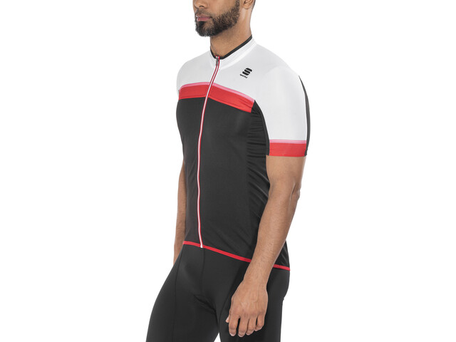 Sportful Pista SS Jersey Men black/white/red-coral fluo